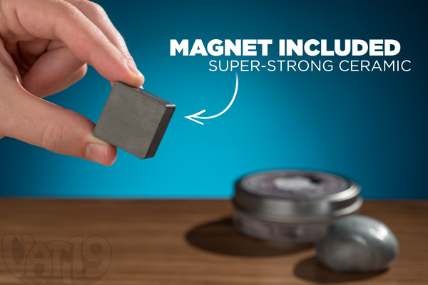 Magnetic Thinking Putty includes a strong ceramic magnet.
