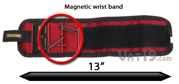 The Magnogrip Wristband is a magnetic wrist band that holds nails, screws, and other small tools.