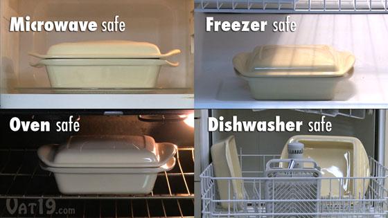 The Make and Take Baker is microwave-safe, dishwasher-safe, freezer-safe, and oven-safe.