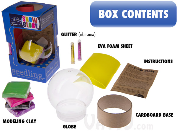 Everything you need to create your very own snow globe is included in this kit.
