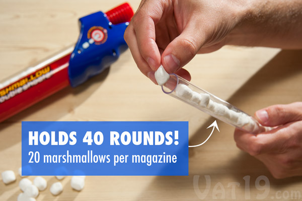 The Marshmallow Double Shooter holds up to 40 mini marshmallows before requiring a reload.