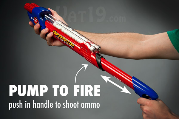 Simply push the trigger forward to fire. Continue pumping for rapid fire.