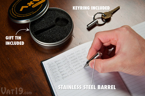 Inkless Metal Pen is available in a keychain edition.