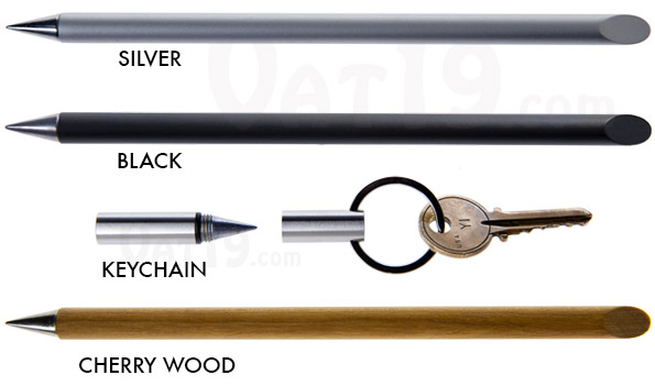 Inkless Metal Pen in silver, black, or keychain edition.