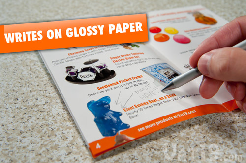 The Metal Pen will write on most surfaces including glossy catalogs and even on top of water.