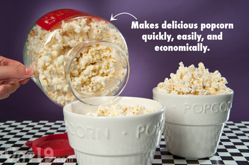 Glass microwave popcorn popper is a simple popcorn maker.