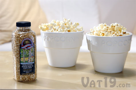 Wisconsin White Birch Popcorn made in a glass microwave popcorn popper.