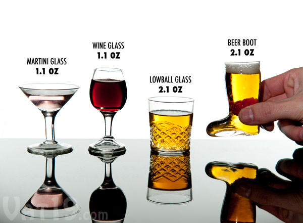 Each set of Mini Cocktail Shot Glasses includes four miniature cocktail-style shot glasses.