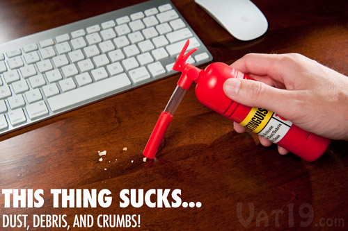 The Mini Desktop Vacuum cleans up dust, debris, and crumbs from your desk and keyboard.