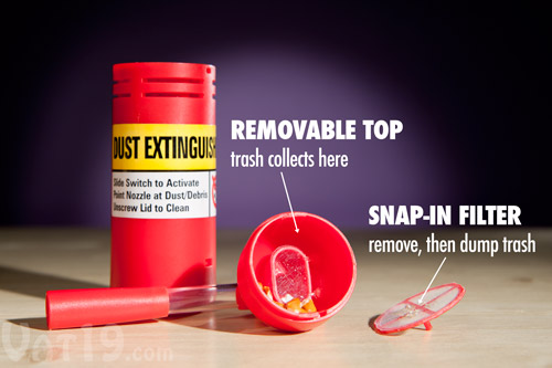 The Dust Extinguisher Mini Desktop Vacuum is easy to clean.