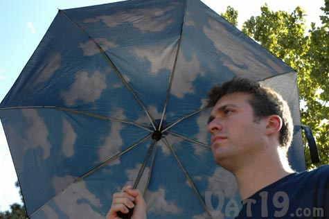 The MoMA automatic Mini Sky Umbrella puts a cheery blue sky over your head whenever dreary rains hits.