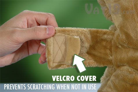 The velcro cover protects your little one's face from the itchy velcro.