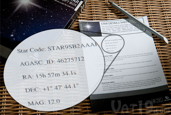 The Name a Star Gift Box includes the detailed coordinates of your star's location.