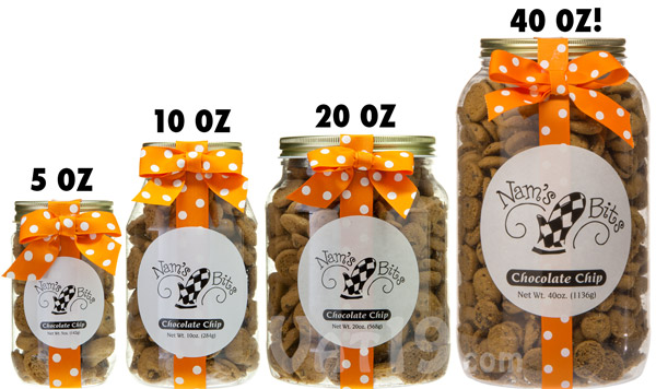 Nam's Bits Chocolate Chip Cookies are available in a variety of jar sizes.