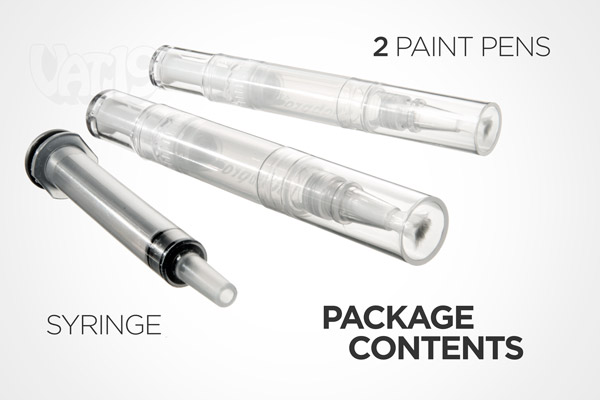 Each set of Paint Retouching Pens includes two pens and one filling syringe.