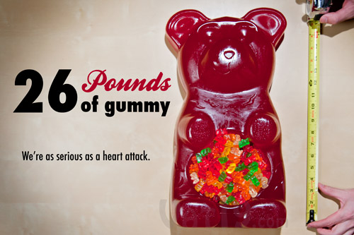 The Party Gummy Bear weighs 26 pounds.