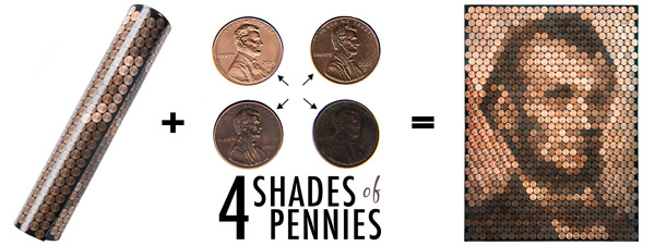 Separate your pennies into 4 distinct shades and apply them to the templated poster to create your Lincoln Penny Portrait.