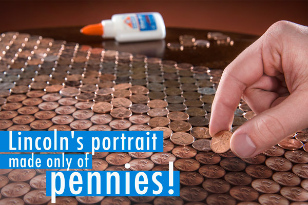 Close-up view of a man gluing pennies to his Lincoln Penny Portrait.