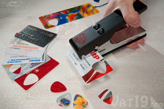 Turn old credit cards, gift cards, and loyalty cards into guitar picks with the Pick Punch.