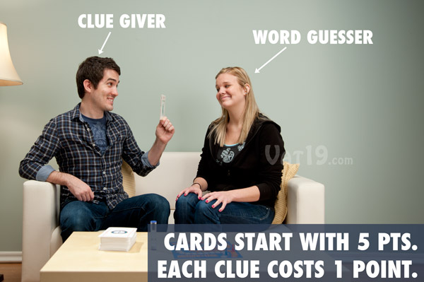 Each card starts with 5 points. Each clue given deducts one point from your total.