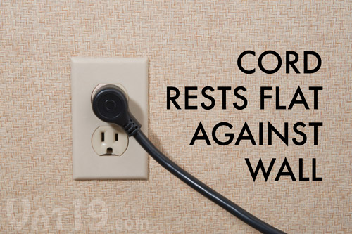 The Pivot Power Plug is designed to rest flat against the wall without covering any other outlets.