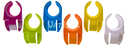 Party Plate Clips come in a set of six in the colors displayed: purple, green, blue, orange, yellow, and white.