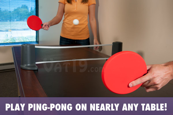 Play Ping Pong anywhere with the Pongo Portable Table Tennis game.