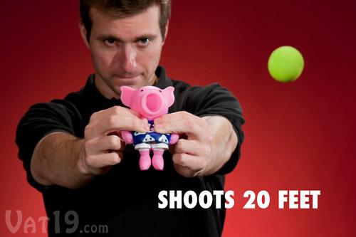 Pig Popper shooting a foam ball up to 20 feet.