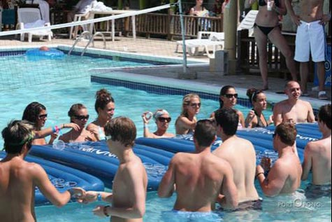 Portopong Inflatable Beer Pong Tables in a pool