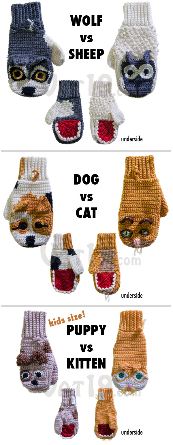 Predator vs. Prey handmade mittens are available in a variety of styles.