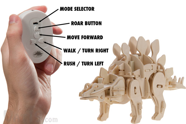 Use the included remote control to direct the actions of your wooden dinosaur.