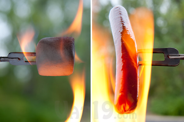 Reel Roaster makes it fun to perfectly cook hot dogs and marshmallows.