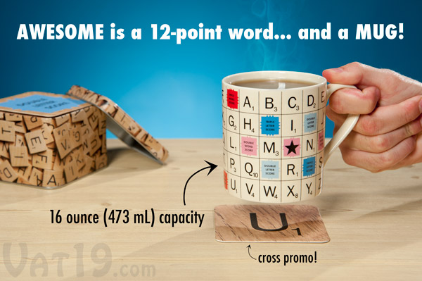 SCRABBLE¨ Tile Coffee Mug: Officially licensed mug.