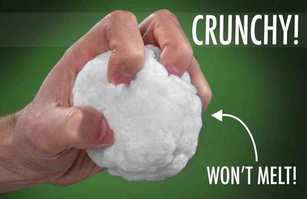 Hand crunching a Snowtime Snowball.