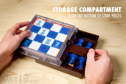 Store the 10 included chess pieces in the slide-out drawer.