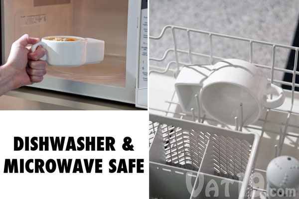 Soup and Cracker Mugs are dishwasher and microwave safe.