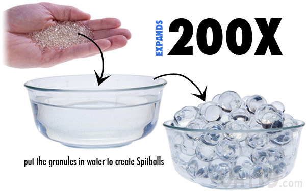 Simply add the Spitball granule to water and watch it expand up to 200X their original size.
