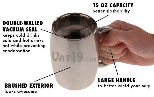 Stainless Steel Beer Mug keeps cold beverages cold without condensation.