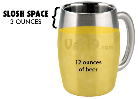 The 15 oz capacity of the stainless steel beer mug increases sloshability.