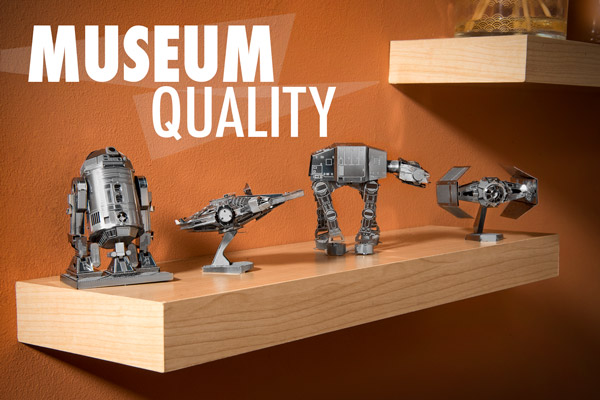 Star Wars Metal Earth Models displayed on a shelf.