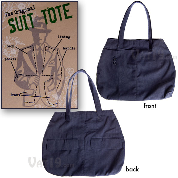 The entire tote bag is made from one old suit jacket.
