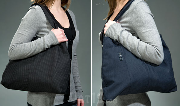 Tote bags made from reclaimed men's suit coats.