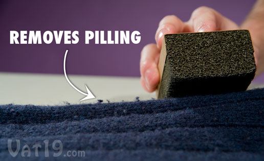 Remove pilling and balling from your garments with the Sweater Stone.