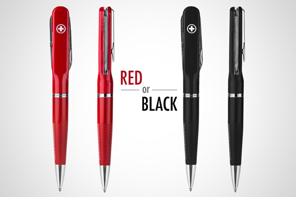 The SwissPen is available in red and black.