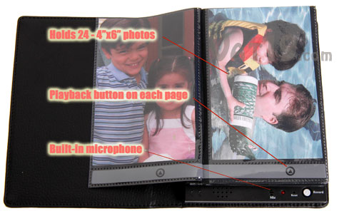 The Recordable Photo Album stores up to 10 seconds of audio for each picture.