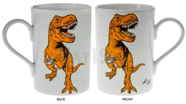 Tea-Rex Coffee Mug front and back views.