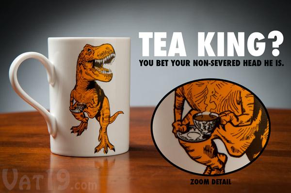Tea-Rex Ceramic Dinosaur Mug on a coffee table.