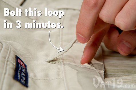 Three minutes after applying Tear Mender Fabric Glue, this loop can be belted.