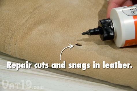 Tear Mender can also be used as a leather adhesive, mending snags, cuts, or tears.