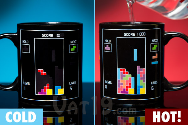 The Tetris Heat Change Mug shows a new image when subjected to high temperatures.